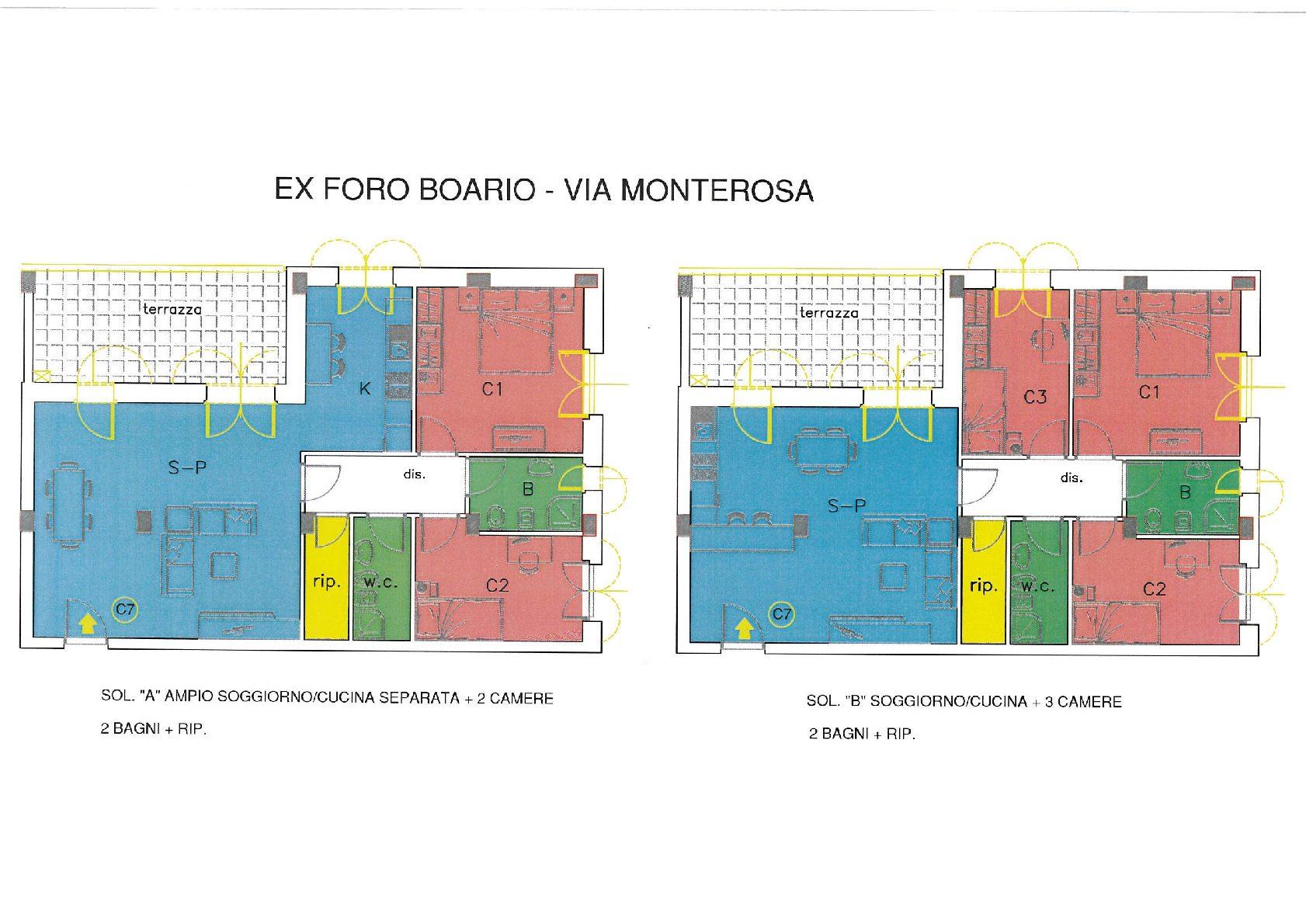 Foro Boario – Via Monterosa – Un appartamento due soluzioni di utilizzo.